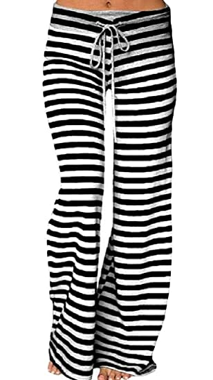 Etecredpow Womens Casual High Waist Gym Wide Leg Yoga Stripe ...