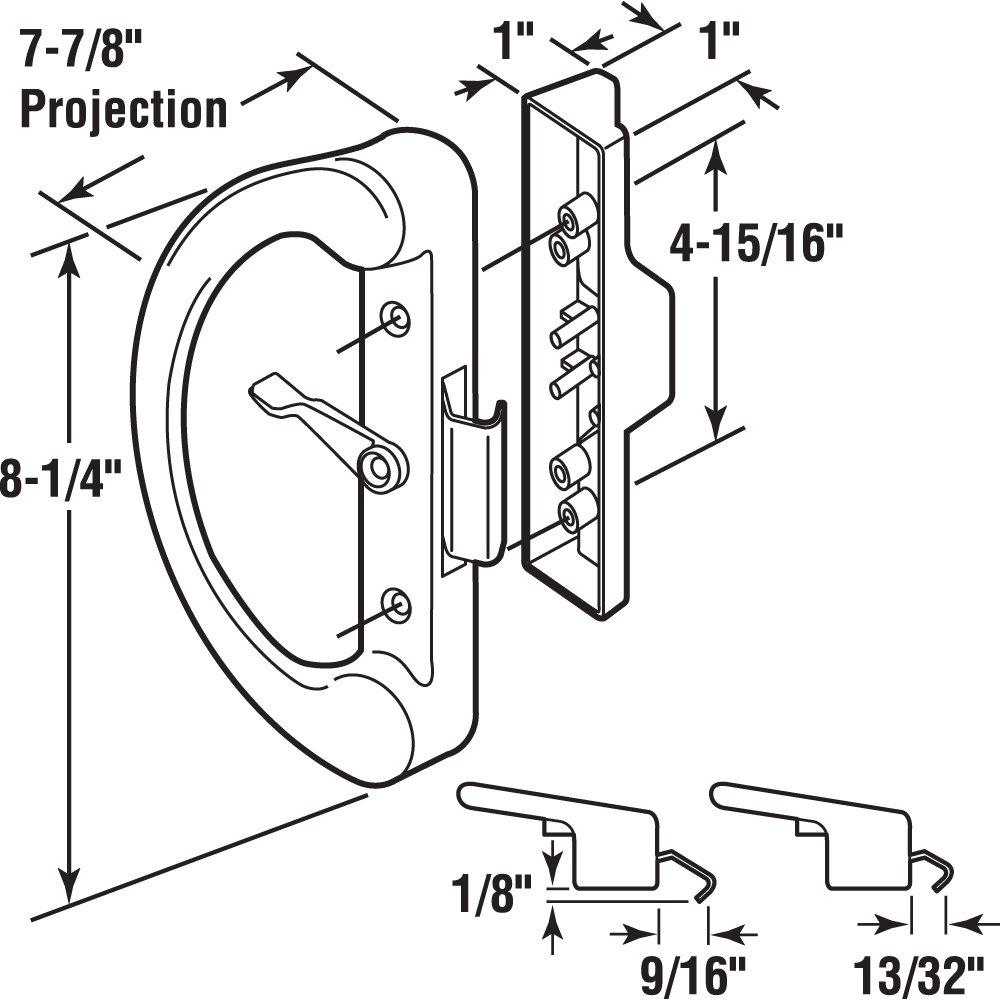 Slide-Co 143603 Sliding Door Handle with Clam Latch Black