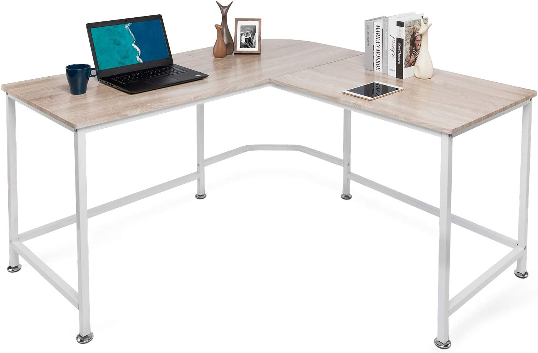 Lauraland L Shaped Desk 50 Inch, L-Shaped Computer Desk, Laptop Study  Corner Table, Gaming Table, Workstation for Home Office - Oak