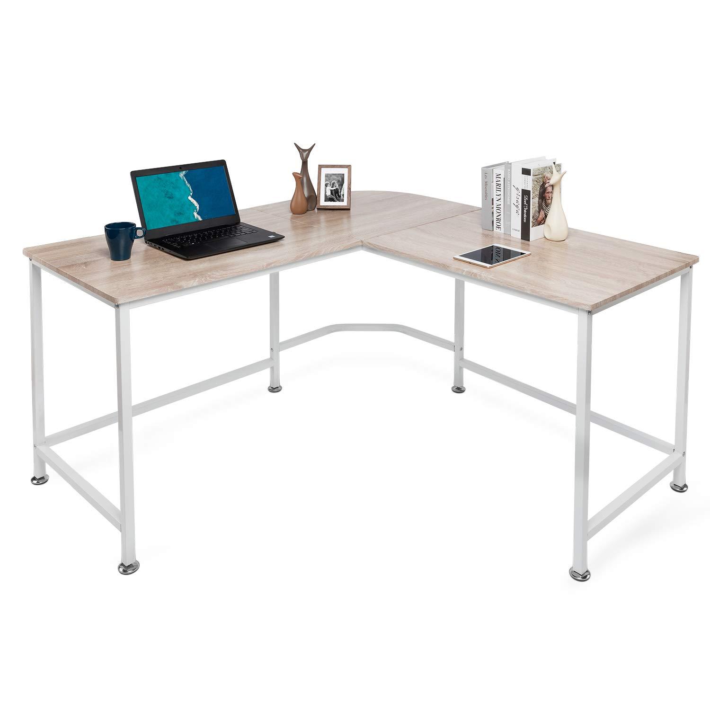 Lauraland L Shaped Desk, Corner Computer Desk, Laptop Study Table, Morden Workstation, Gaming Table, Oak