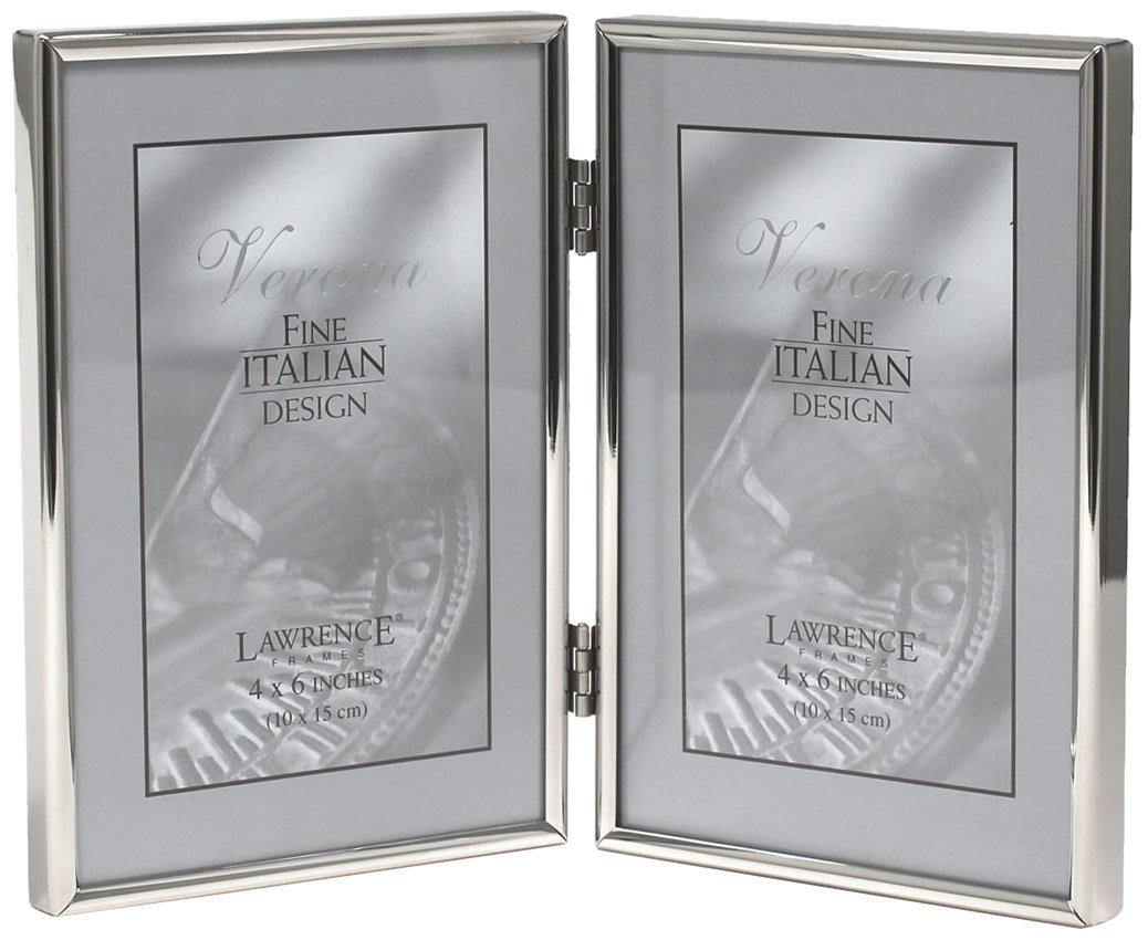 Lawrence Frames Hinged Double Simply Metal Picture Frame, 4 by 6-Inch, Silver 650046D