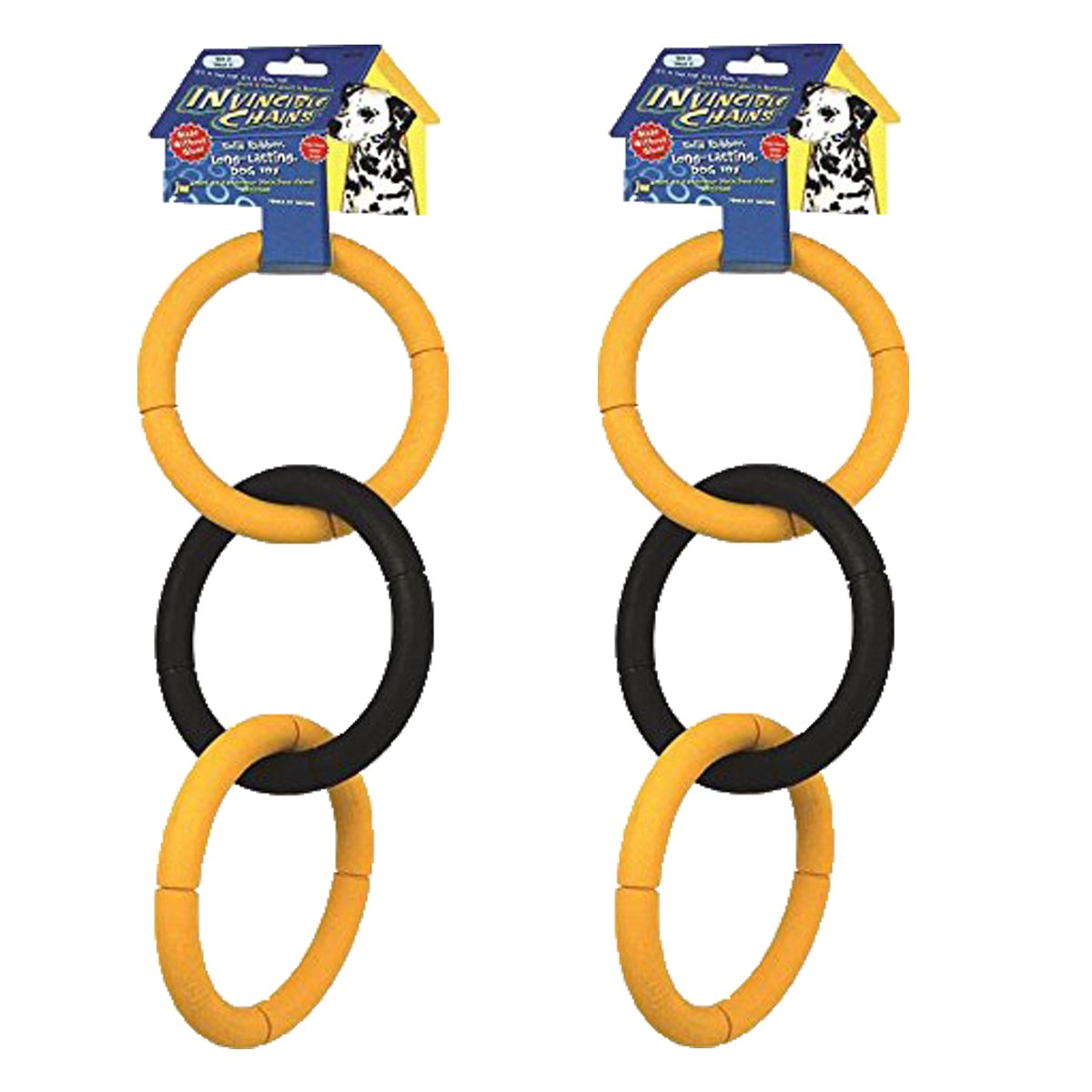 JW Pet Invincible Chains Rubber Dog Toy, Large, 2 Pack