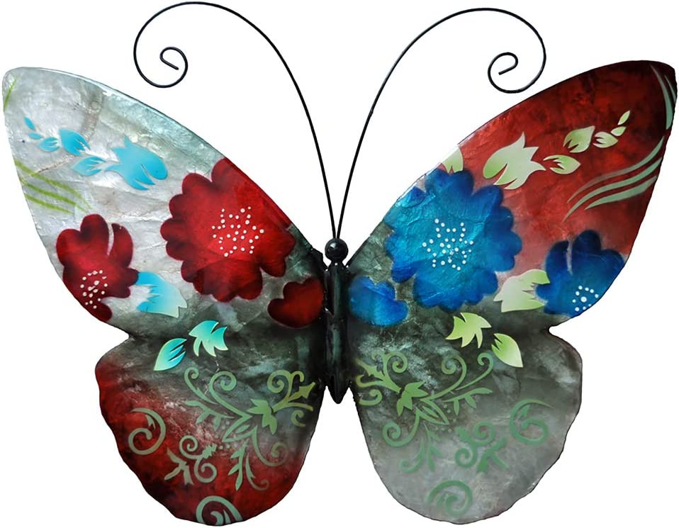Eangee Home Designs Metal Handcrafted Spring Flowers Butterfly Wall Decor Sculpture