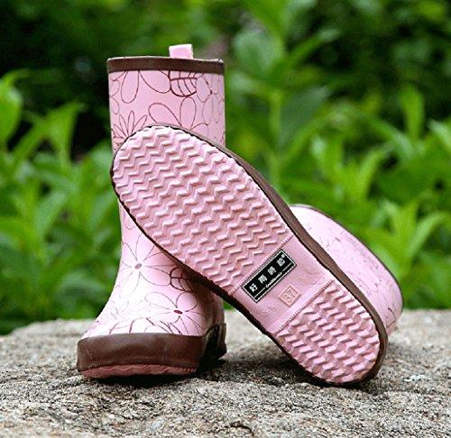 Insun Damesprint Halfhoge Kalfs Regenlaarzen Voor Dames Roze