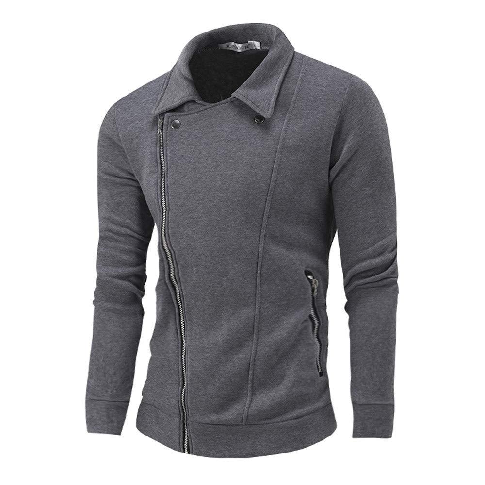 Danhjin Women's Men's Autumn Winter Winproof Zip Up Hoodie Solid Zipper Long Sleeve Jacket Coat Top Blouse Sweatshirt (Gray, XL)