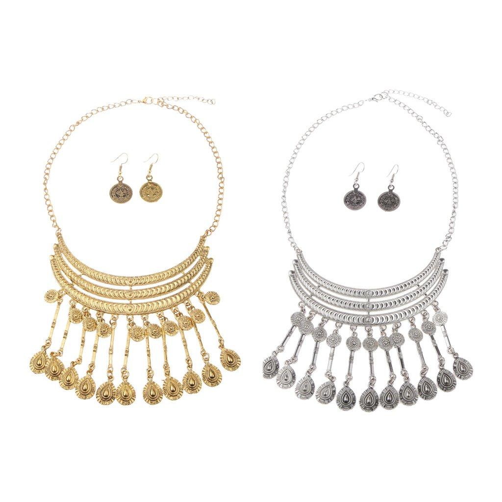 709e436023f1 Conjunto de Bisutería Aretes Collar Colgante Borlas Serie Vintage Color Oro    Plata - Oro  Amazon.es  Joyería