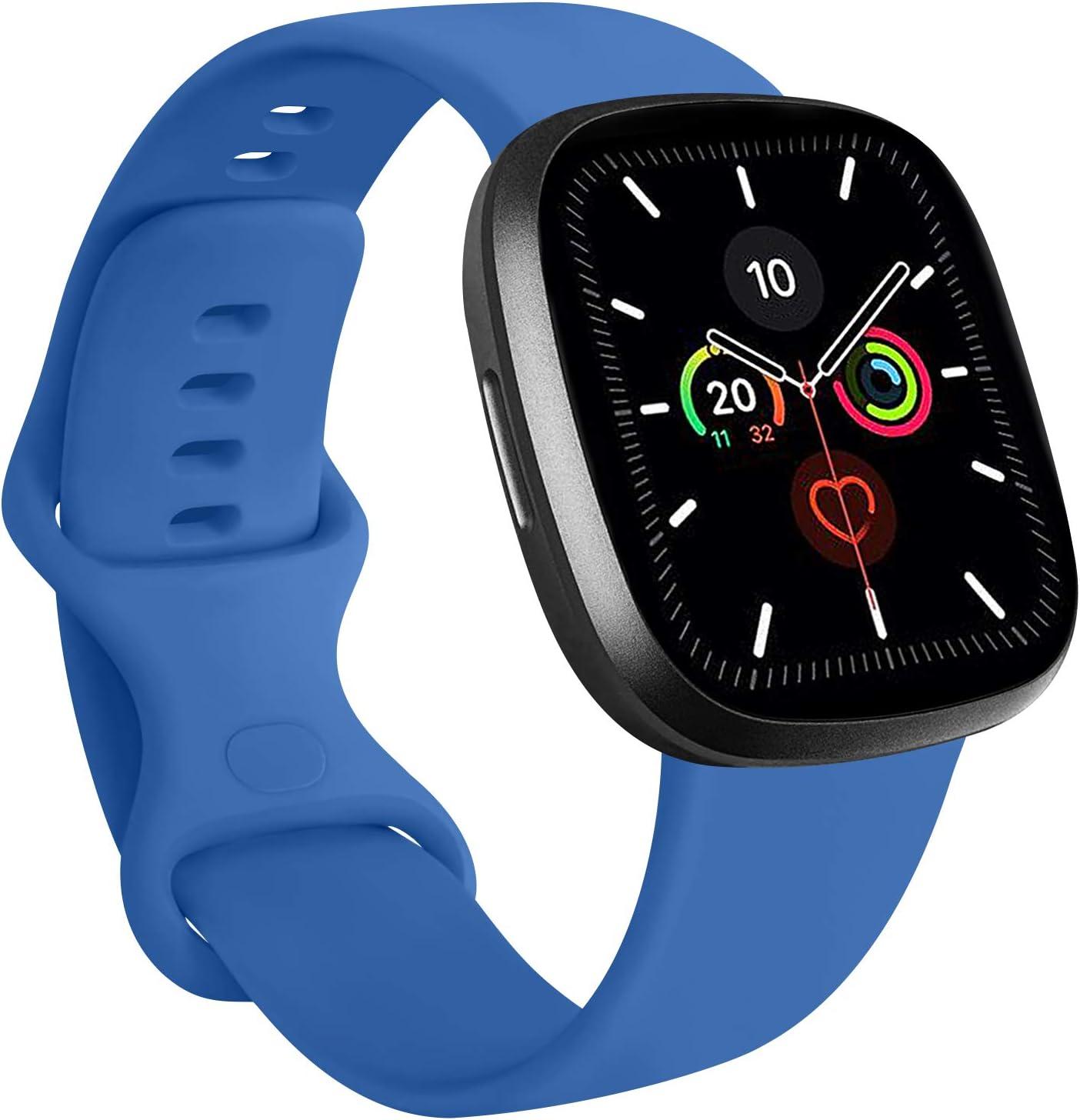 RAZAN Silicona Correa Compatible con Apple Watch 38mm 42mm 40mm 44mm,Pulseras de Repuesto de Silicona Suave para iWatch Series 6 5 4 3 2 1 (42mm/44mm S/M, Azul Zafiro)