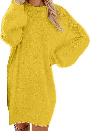Damen Strickkleid Einfarbig Pullover Kleid Casual Lose Herbst Strickpullover Lang