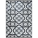 Patio Designs Smart Design Reversible Outdoor/Indoor Plastic Rug/Mat, Easy to Clean and Fold,Perfect for RV,Deck,Patio,Camping,Pianic and Beach-(Grey,8x10)
