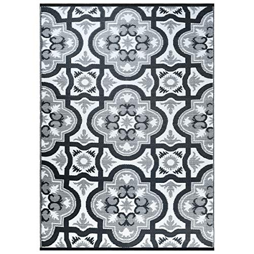 Smart Design Reversible Outdoor/Indoor Plastic Rug/Mat, Easy to Clean and Fold,Perfect for RV,Deck,Patio,Camping,Pianic and Beach-(Grey,8x10)