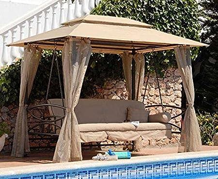 Mega Carpa con columpio y cama reclinable de hierro y tela de exterior | Atlante