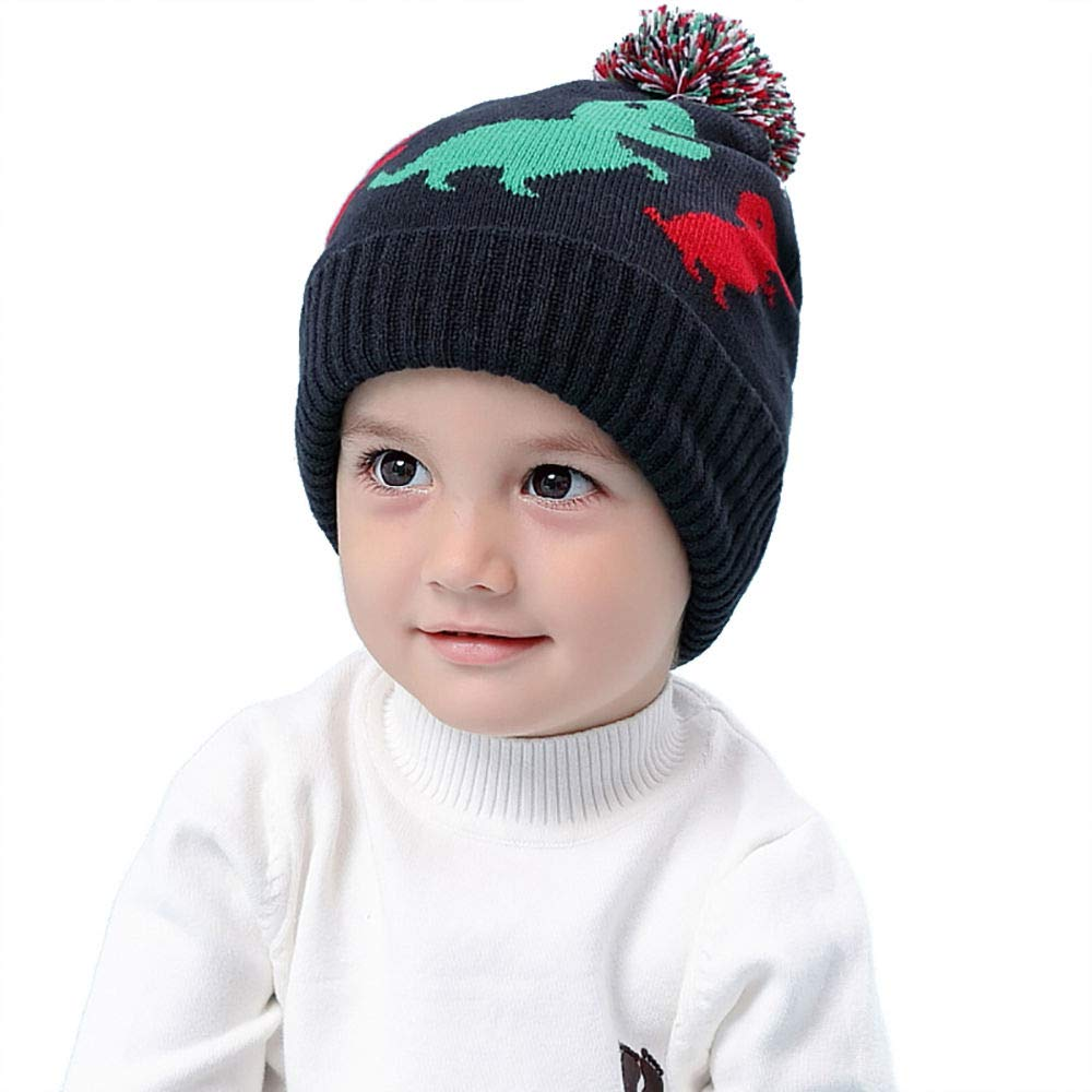 RUHI Baby Hat, Kids Winter Knit Hats, Cartoon Dinosaur Toddler Earflap Beanie for Boy & Girl