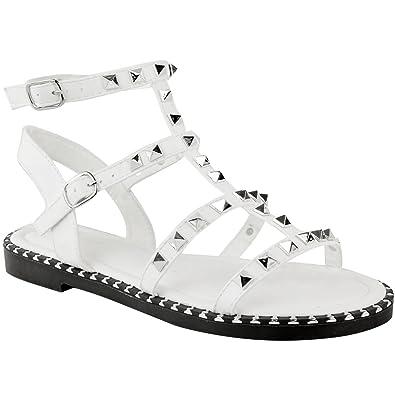 34fac7264f361 Fashion Thirsty Sandales Plates - Style Rock - Cloutées Lanières - Été - pour  Femme  Amazon.fr  Chaussures et Sacs