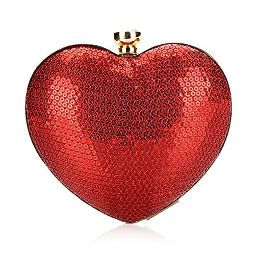 Evening Clutch Bag, Fit Wit Heart Shape Cocktail Wedding Party Handbag Clutch Purse - Red - Red Heart Handbag