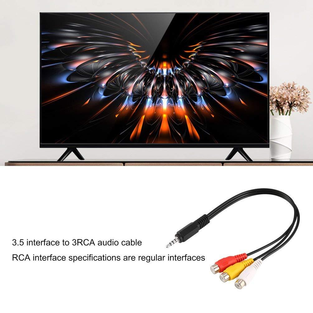 Negro 1pc 3.5mm Mini Aux Est/éreo Masculino a 3 RCA Hembra Audio Video AV Adaptador Cable Cable 28cm Adaptador Convertidor