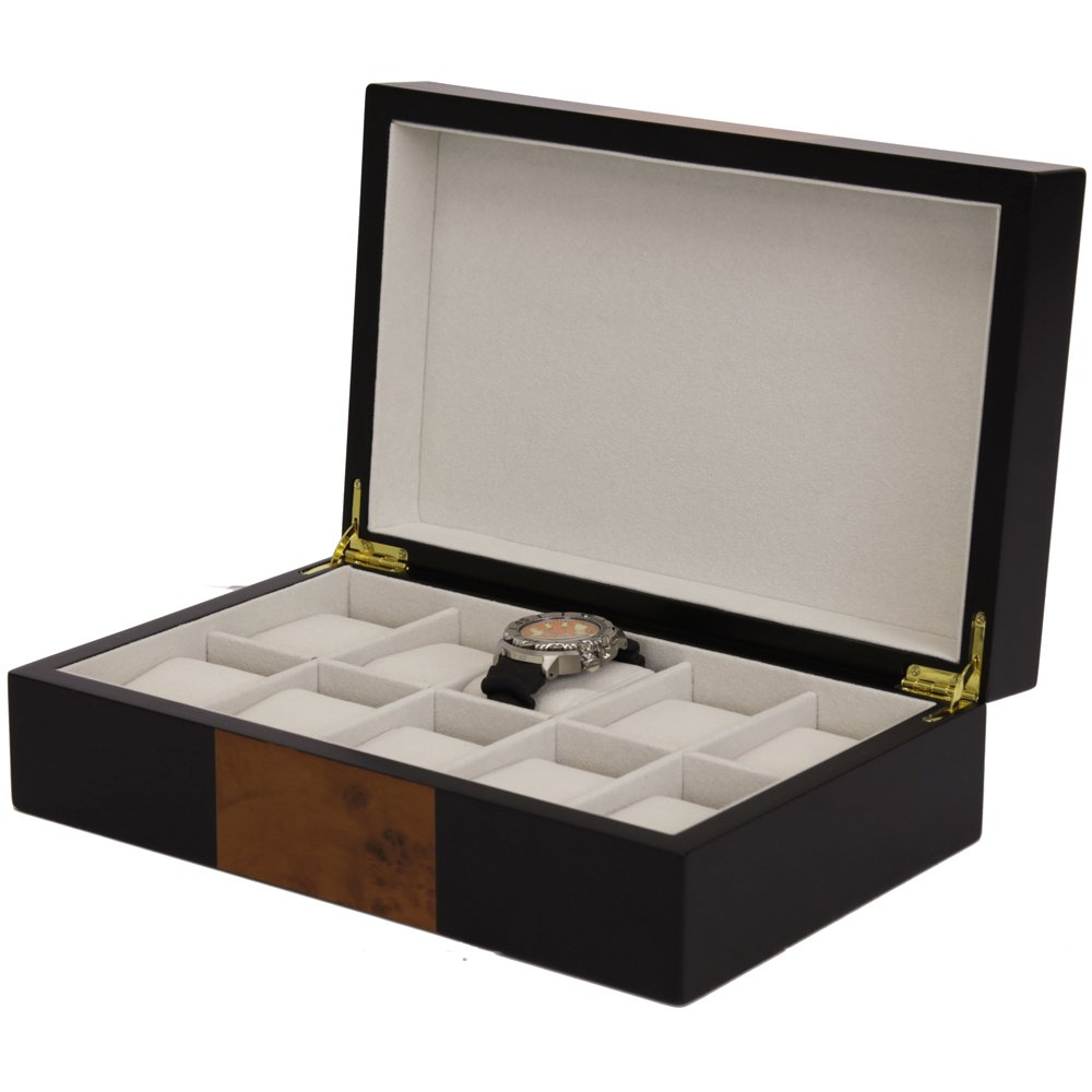 Wood Watch Box 10 Watches Black Burlwood Finish Large Compartments High Clearance