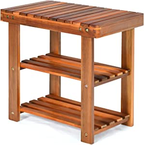 PATIOJOY Shoe Rack Bench, 3-Tier Shoe Organizer, Storage Shelf & Seat, Made of Sturdy Acacia Wood, Wide Application, Idea for Entryway, Hallway, Living Room, Bathroom , Teak Color (19-inch)