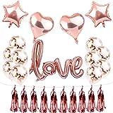 Rose Gold Love Balloons Bridal Shower Decor Wedding decorations,Rose Gold balloons valentines day decorations engagement party Wedding balloons kit
