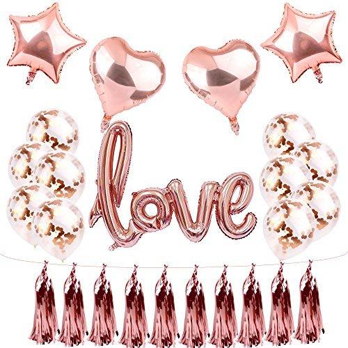 Rose Gold Love Balloons Bridal Shower Decor Wedding decorations,Rose Gold balloons valentines day decorations engagement party Wedding balloons kit by Sllyfo