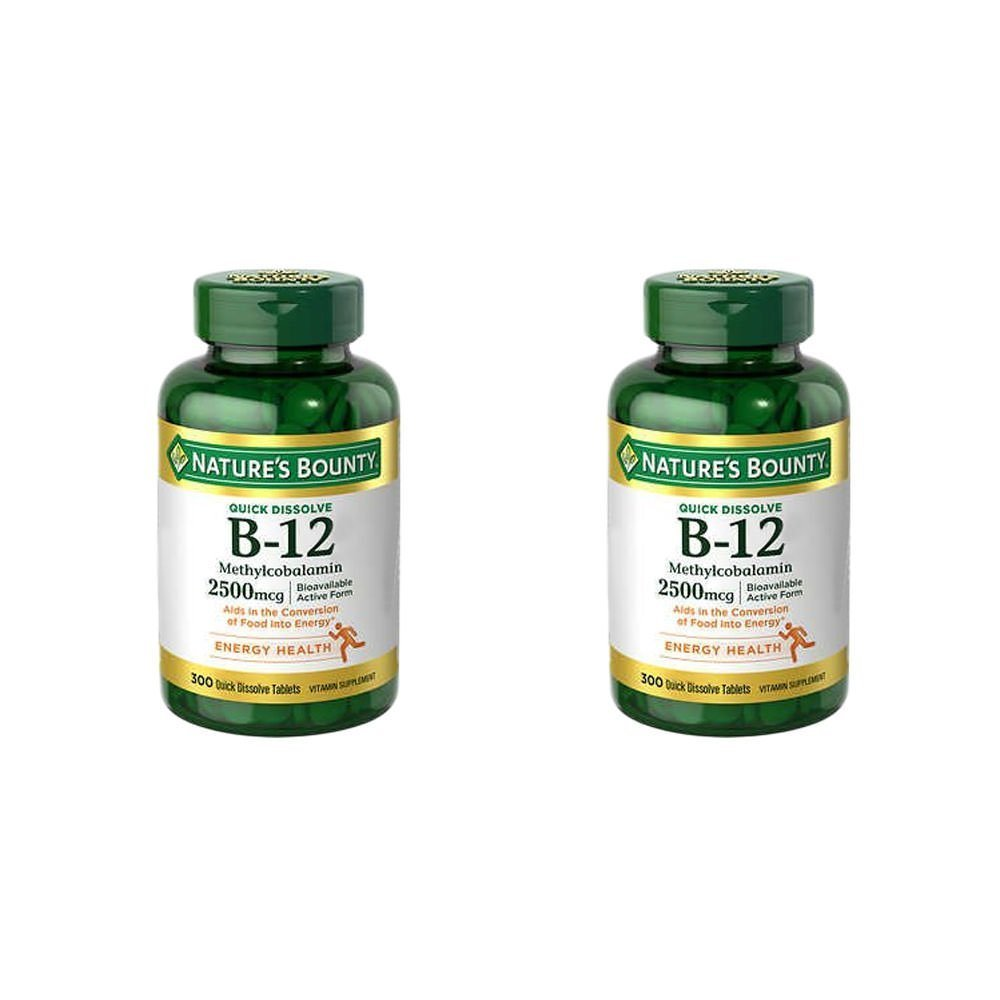 Nature's Bounty 2 Pack Quick Dissolve Fast Acting 2500 mcg Vitamin B-12 Methylcobalamin Natural Cherry Flavor (300 tablets) (Two Bottles each of 300 Tablets)