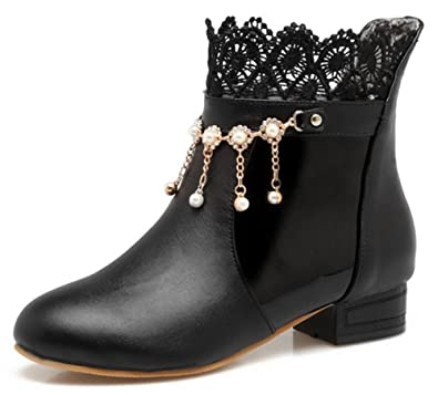 Women's Dressy Lace Spliced Pull On Low Chunky Heel Ankle Boots With Rhinestones