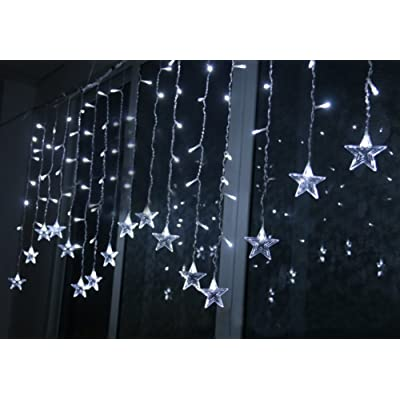 K-Bright 3,5m/138in 96 LED Star-Shaped Fairy Christmas String Lights Indoor Outdoor Decorative Curtain Lamp 8 Twinkle Modes For Xmas Tree Wedding Hotel Festival Decoration IP 65 EU Plug