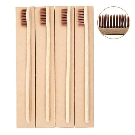 Cepillo de Dientes de Bambú Cepillo de Dientes De Madera de Bambú con Cerdas Suaves,