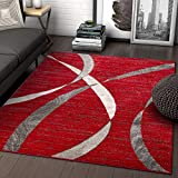 Well Woven Felice Stripes Red Geometric Modern Lines Area Rug 5x7 (5'3' x 7'3') Carpet