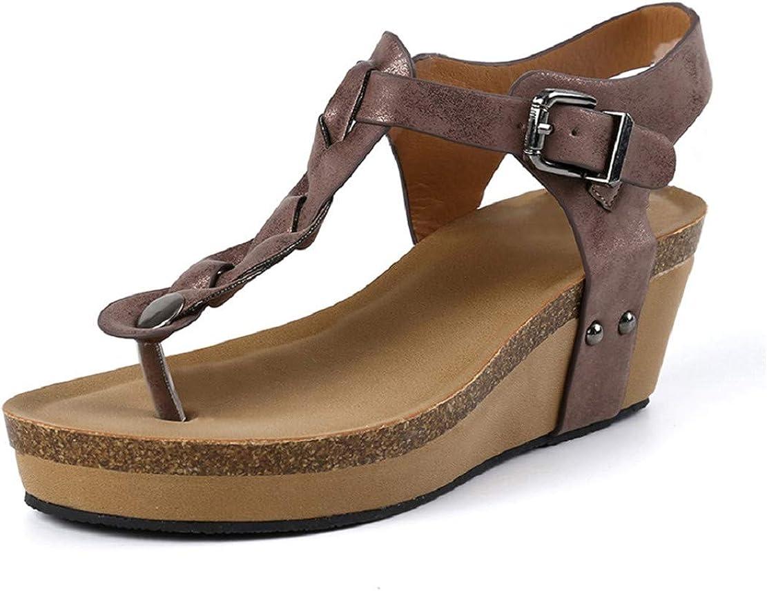 Sandalias Mujer Plataformas Cuña Verano Alpargatas Tacon 7cm Vestir Sandalias y Chanclas Romanas Flipflop Bohemias Zapatos Negro Beige Marrón 35-43 EU Marrón 39