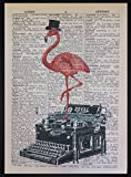 Pink Flamingo Vintage Typewriter Dictionary Print Page Wall Art Picture Hipster by Parksmoonprints