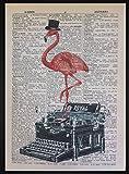 Parksmoonprints Stampa artistica da parete con pagina di dizionario, fenicottero rosa e macchina da scrivere vintage
