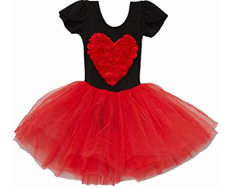 4633352fe3c6 Amazon.com  wenchoice Black   Red Rosette Heart Tutu Dress Girl s L ...