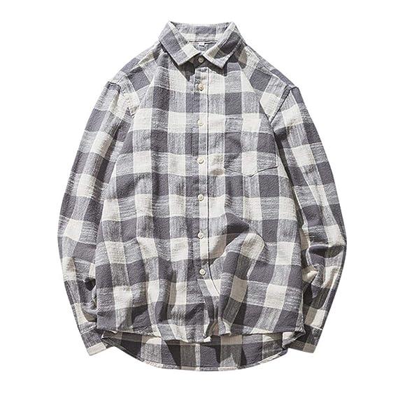 Yvelands Camisa de Manga Larga a Cuadros Camisa de Solapa Casual Hombres Camisa de Manga Larga Camiseta Top Fiesta de Blusa Daily Summer Otoño: Amazon.es: ...