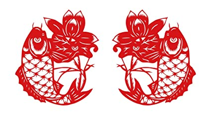 Chinese Grilles Paper Cut Art For Koi Fish And Lotus Jian Zhi