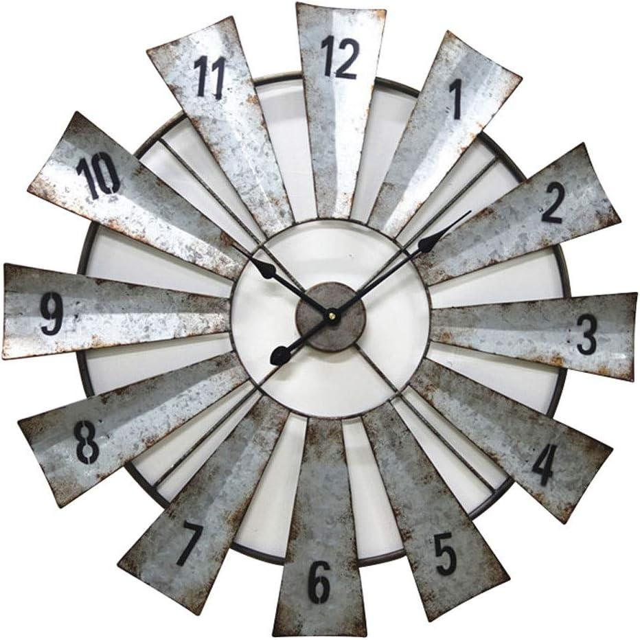 CHENGXI Reloj de Pared Reloj de Cuarzo Reloj de Hierro Forjado Galvanizado Hoja de Metal Decoración del Hogar Reloj Creativo 23.7 Pulgadas