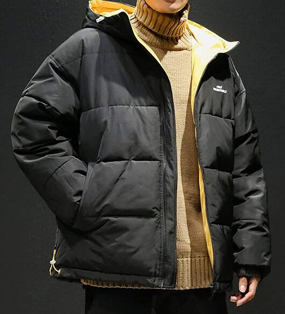 Bravepe Men Oversized Thicker Loose Color Block Winter Quilted Jacket Coat Outerwear