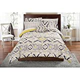 DOS 6pc Grey Yellow Southwest Comforter Twin/Twin XL Set, Aztec Gray Native Tribal Bedding Geometric Chevron Zig Zag Stripes Honeycomb Pattern Southwestern Colors Indian Motif, Polyester