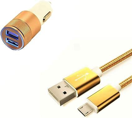 Pack Cargador de Coche para Samsung Galaxy A10 Smartphone Micro USB (Cable de Metal Nailon + Doble Adaptador de Encendedor de Cigarrillo) (Dorado): Amazon.es: Electrónica