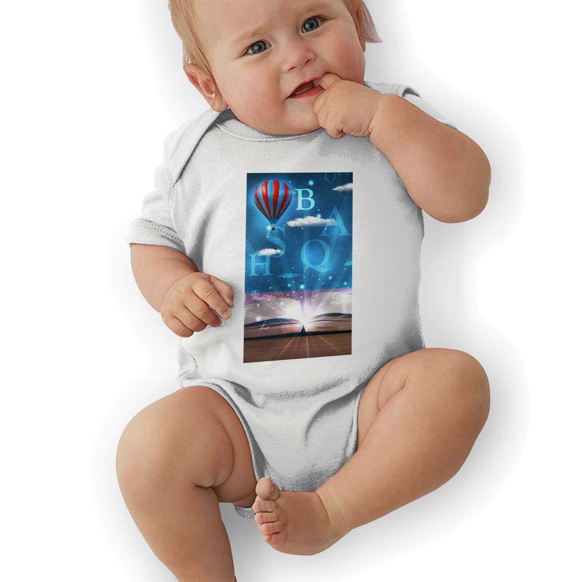 Newborn Baby Girls Bodysuit Short-Sleeve Onesie Art Books Letters Print Outfit Autumn Pajamas