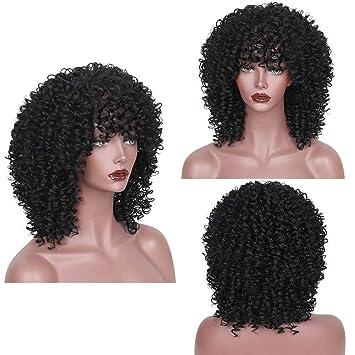 wig Afro Rizado Sintético Peluca Negro Corto Bob Resistente Al Calor Fibra De Pelo Cosplay Party