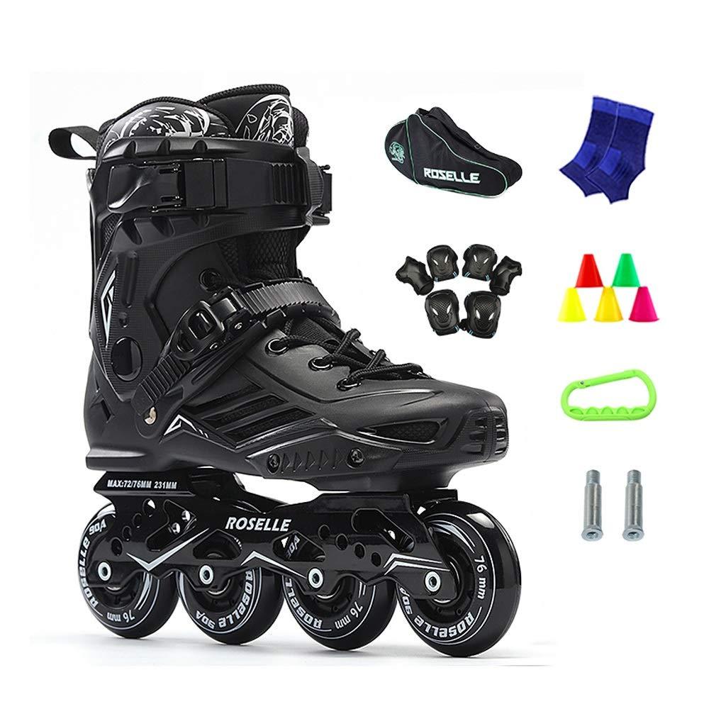 JIANXIN Inline Light Up The Wheel Roller Skates Suitable for Women, Men, Beginner Skating, Black (Color : B, Size : EU 38)