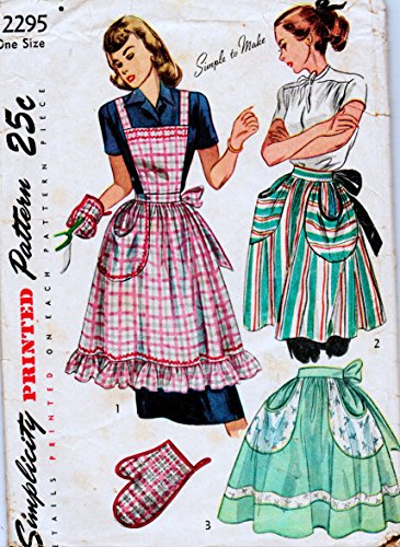Simplicity 2295 Vintage Sewing Pattern, Simple to Make Misses' Full Bib Apron, Half Apron and Oven Mitt, One Size