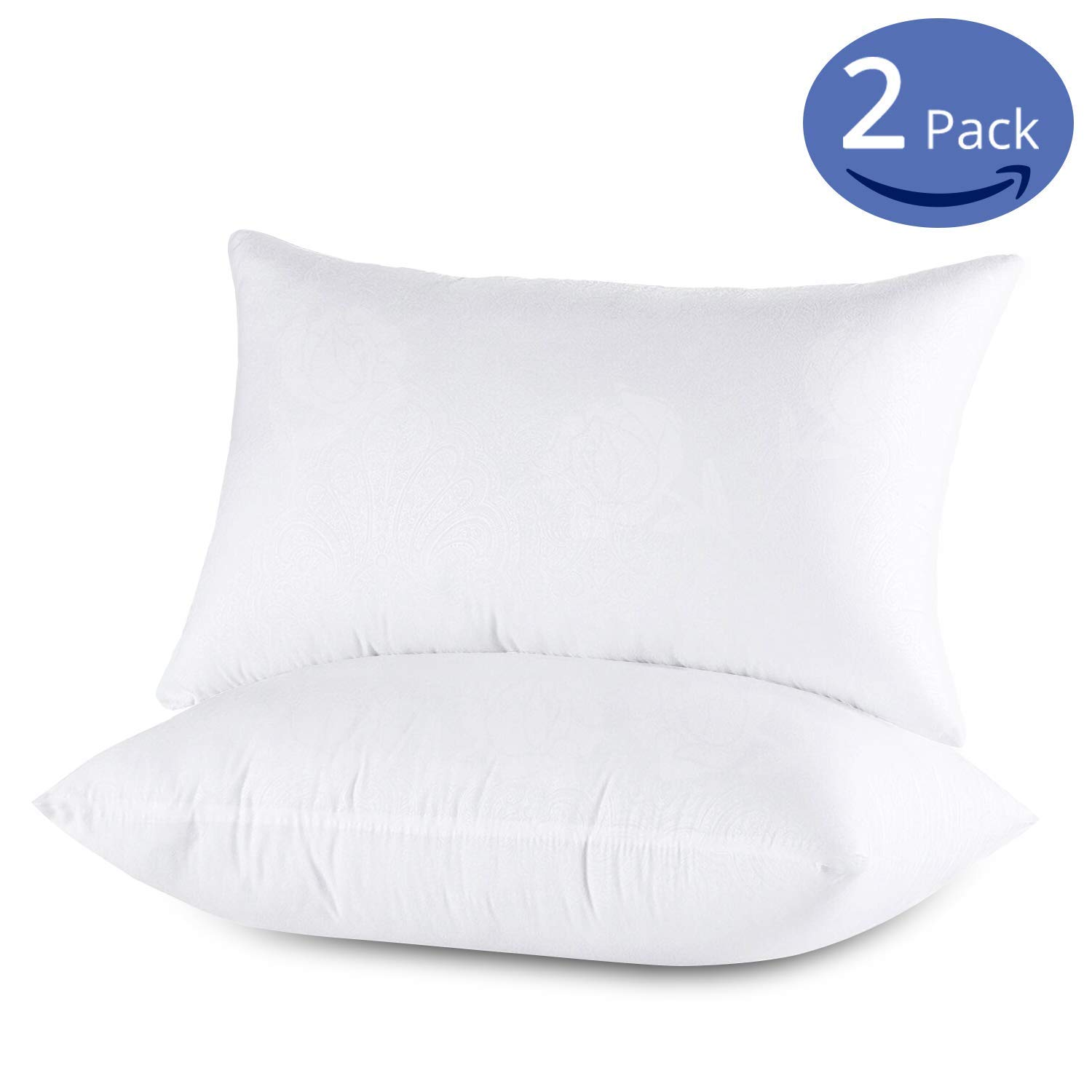 Emolli Standard Bed Pillows for Sleeping 2 Pack, Luxury Hotel Pillows Super Soft Down Microfiber Alternative and 100% Cotton Cover Soft Comfortable