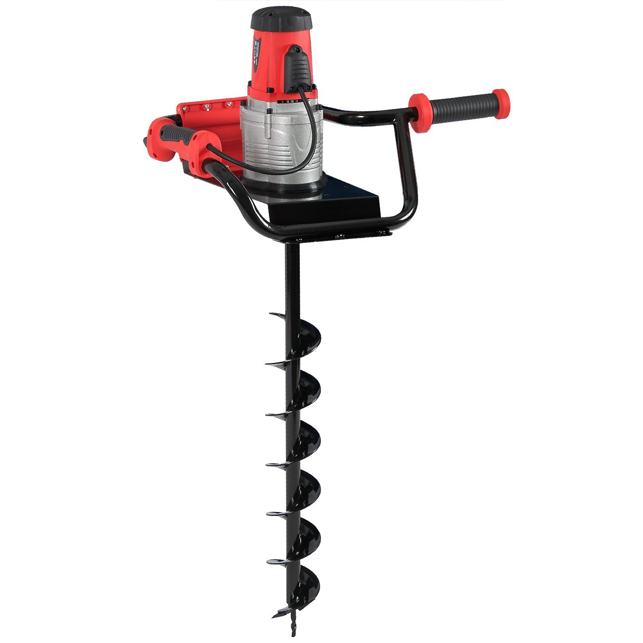ARKSEN 1200W 1.6HP Electric Post Hole Digger Auger Earth Ice w/ 4 inch Auger Bits Set
