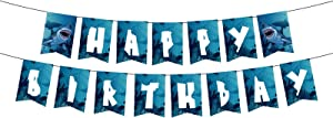 Happy Birthday Banner for Shark Birthday Party Supplies, Blue Ocean Pool Themed Party Bunting Garland Pennant, Scary Shark Theme Party background (Blue)