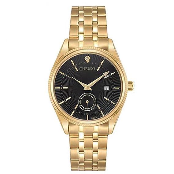 5c8ba3462964 CHENXI reloj hombre acero dorado movimiento cuarzo esfera de segundero con  caja  Amazon.es  Relojes