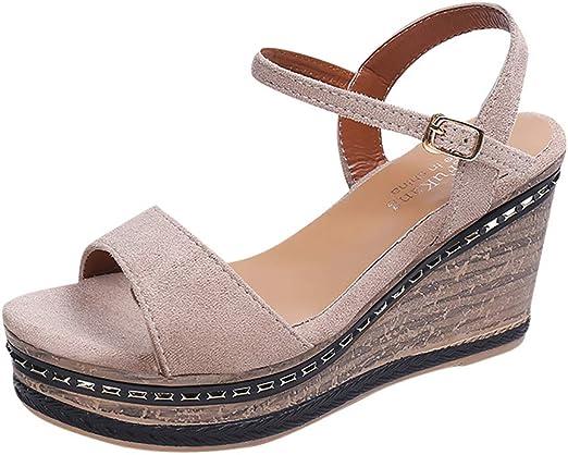 Sharemen Summer Fashion Platform Straps Open Toe Ankle Buckle Roman Flat Sandals Womens Sandals