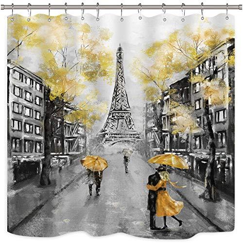 Riyidecor Oil Painting Paris Shower Curtain Set European City Landscape France Eiffel Tower Modern Couple Black Yellow Fabric Waterproof Bathroom Home Decor 72x72 Inch 12 Plastic Shower Hooks (Curtains Yellow Bathroom)