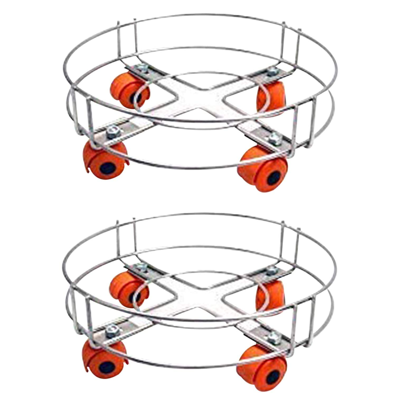 Stainless Steel Gas LPG Cylinder Stand Trolley with Wheels (Pack of 2)