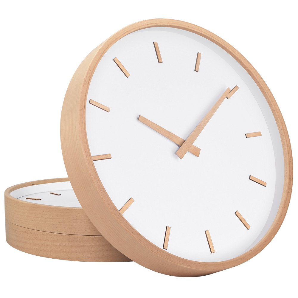 TXL Wall Clock Wood 12'' Large Silent Non Ticking Wooden Wall Clocks with Stereo Scale, Battery Operated Round Digital Easy to Read Vintage Wooden Wall Clocks for Home/Office/School Clock(2)
